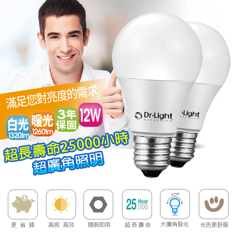 Dr.Light12W廣角LED燈泡DRB-500-12-N01,本檔全網購最低價!