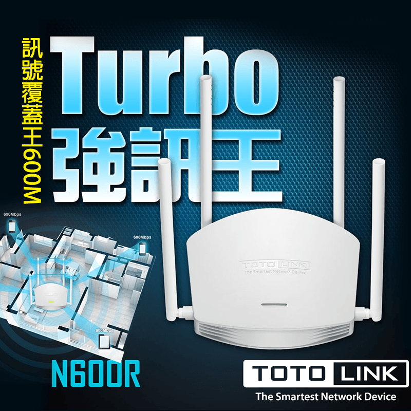 TOTOLINK雙倍強訊飆速無線分享器N600R,限時5.8折,請把握機會搶購!