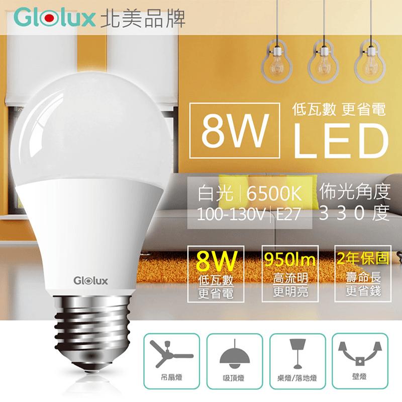 Glolux 8W超高亮度LED節能燈泡,今日結帳再打85折!