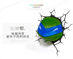 創意忍者龜3D造型壁燈,限時2.2折,今日結帳再享加碼折扣