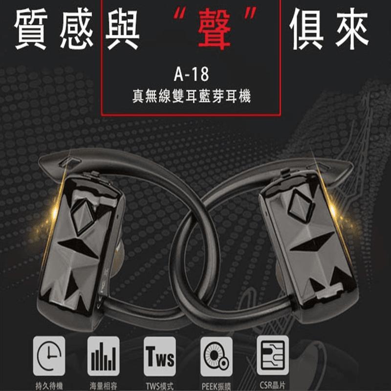 真無線雙耳藍牙運動耳機A18,限時破盤再打82折!