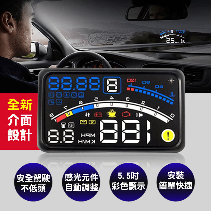CARSCAM 行車王大螢幕測速抬頭顯示器,今日結帳再打85折!
